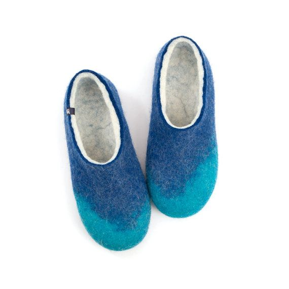 Greek summer colors on women's felted slippers