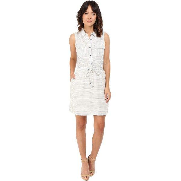 Splendid Marina Pinstripe Dress (Natural) Women's Dress ($68) ❤ liked on Polyvore featuring dresses, beige, cocktail dresses, shirt dress, white day dress, long white shirt dress and beige cocktail dress