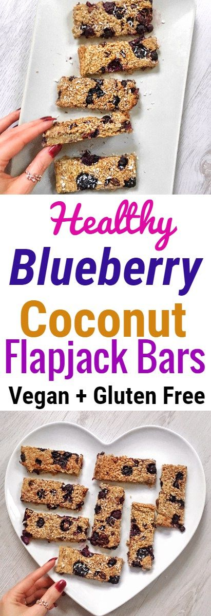 Blueberry and Coconut Oat Flapjack Bars #vegan #glutenfree #healthyfood #healthyeating #healthyrecipes #healthysnacks #plantbased #blueberry #flapjack #oatbar #oatmeal #healthybreakfast