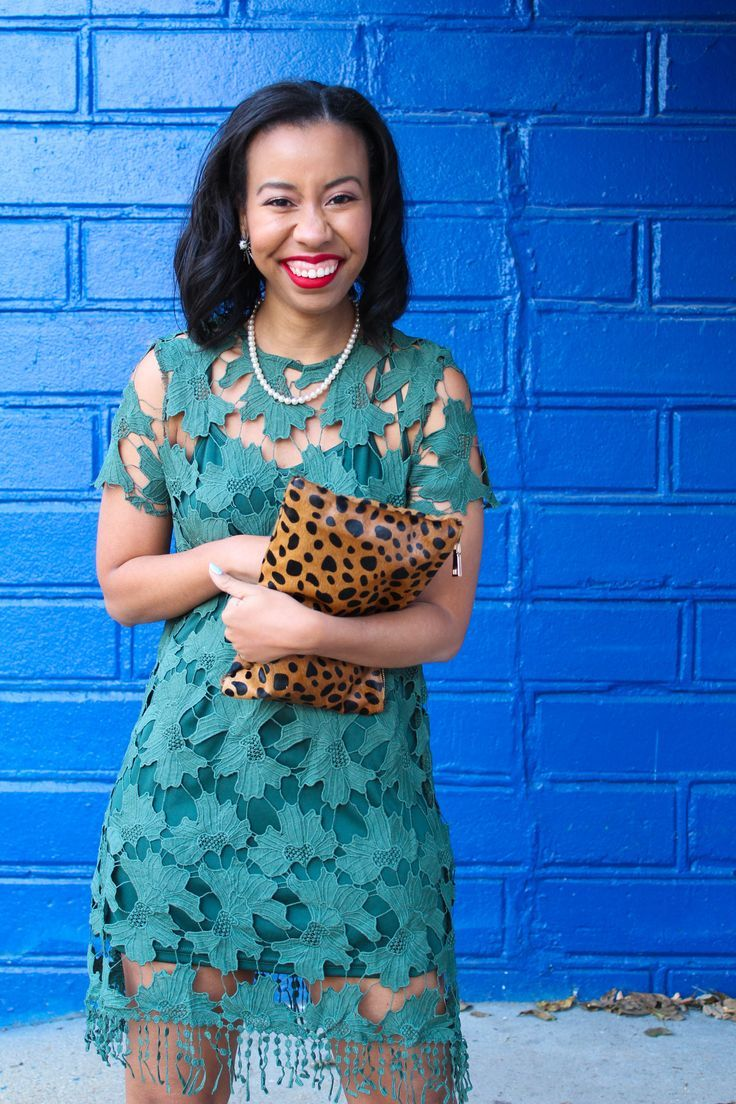 Looking for a dressy casual fall outfit for Thanksgiving? Style blogger features a fall green lace dress from Shop the Mint that fits the bill. // fall dresses, the mint julep boutique, leopard clutch for less, blogger favorite, black girls who blog, southern style blogger, floral lace dress