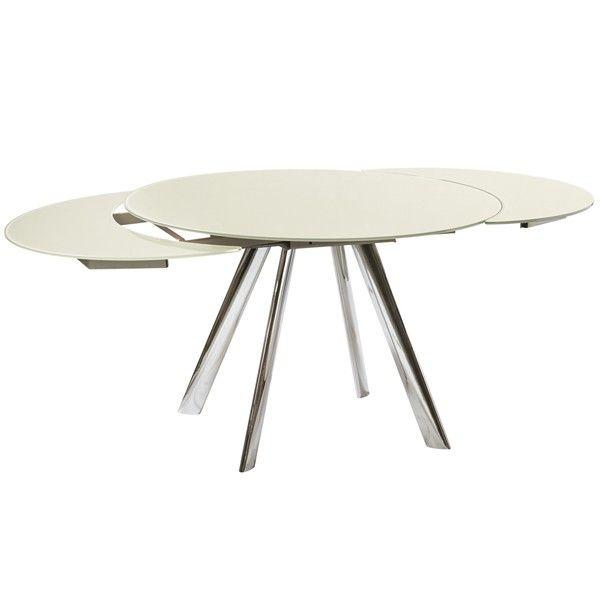 Esstisch glas rund ausziehbar  Design Esstisch CONCORDE rund Glastisch beige ausziehbar ...