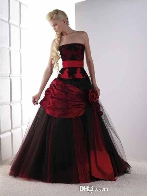 Discount Vintage Black And Red Gothic Wedding Dresses Strapless Lace Tulle Corset Back Non White Bridal Gowns Colored Couture Custom Made Beach Wedding Gowns Be Goth Wedding Dresses Gothic Wedding Dress