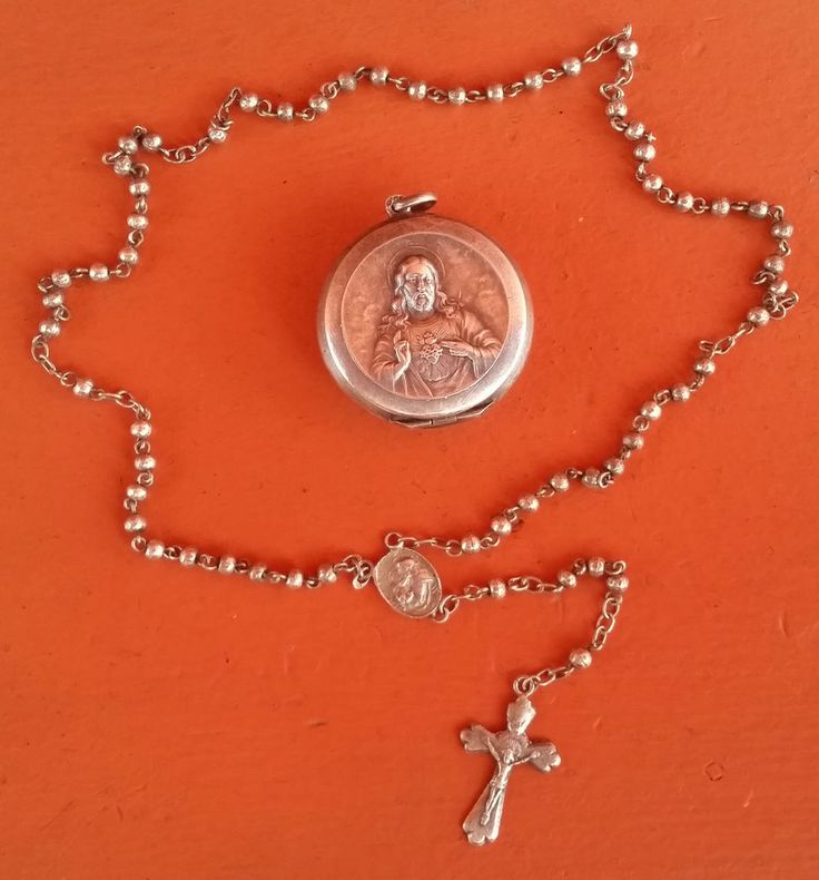 ANTIQUE & BEAUTIFUL HOLY ROSARY & BOX CASE SILVER STERING SOLID IN MINIATURE