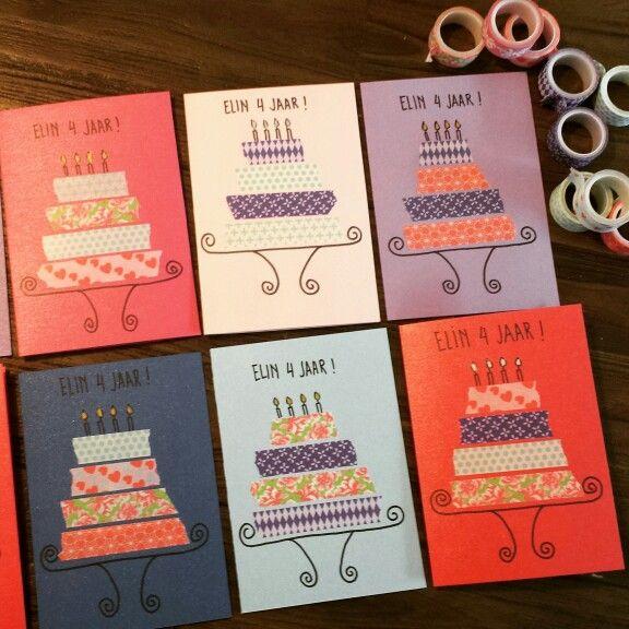 Uitnodiging taartje washi tape