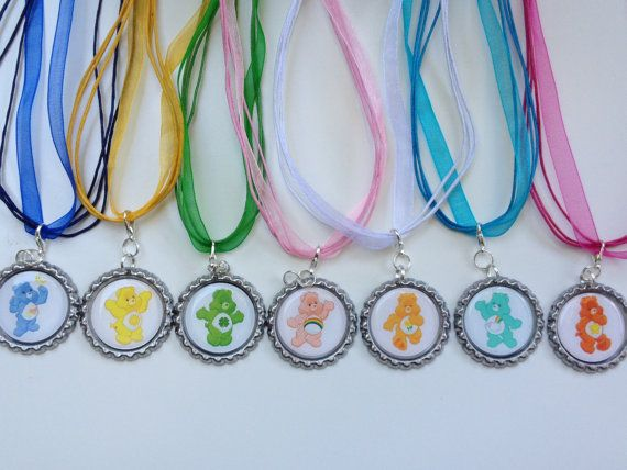 7 PACK PARTY FAVORS Care Bears Boutique bottlecap Pendant Girls Necklaces by OliverandMay, $17.80