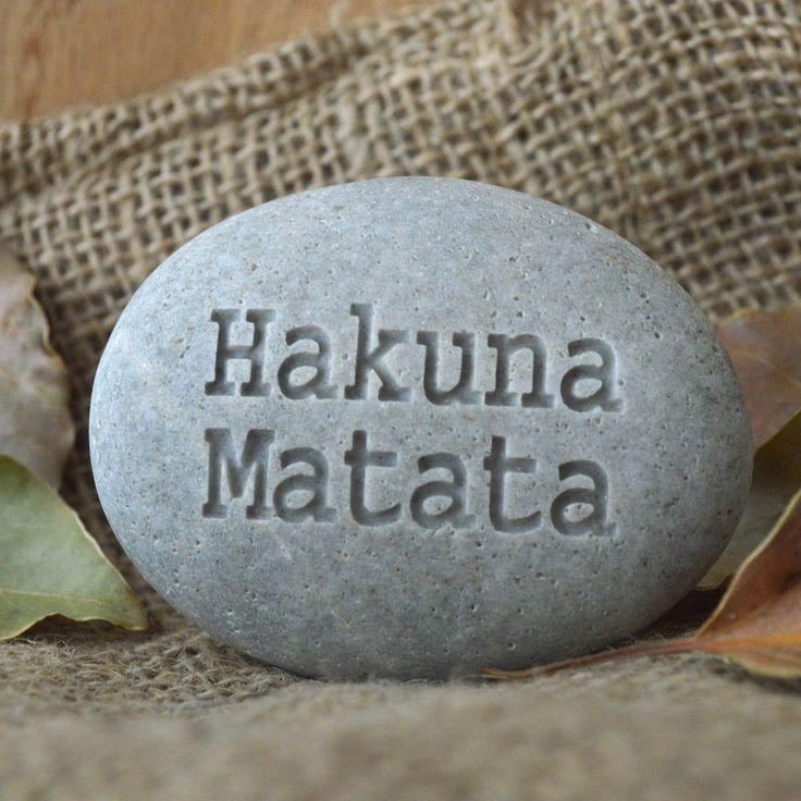 Hakuna Matata - don't worry, be happy - Ready to Ship - engraved beach stone
