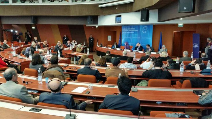 """Maryam Rajavi at Council of Europe Speaking at conference titled """"The crisis of terrorism and fundamentalism, roots, solutions, role of religious dictatorship in Iran"""": Partnering with mullahs in Iraq on pretext to fight ISIS is hundred times more..."""