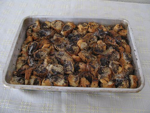 Mákos guba or Hungarian poppy seed bread pudding