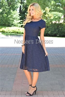 Navy Floral Lace Modest Dress Bridesmaids Dress, Church Dresses, dresses for church, modest bridesmaids dresses, trendy modest dresses,…