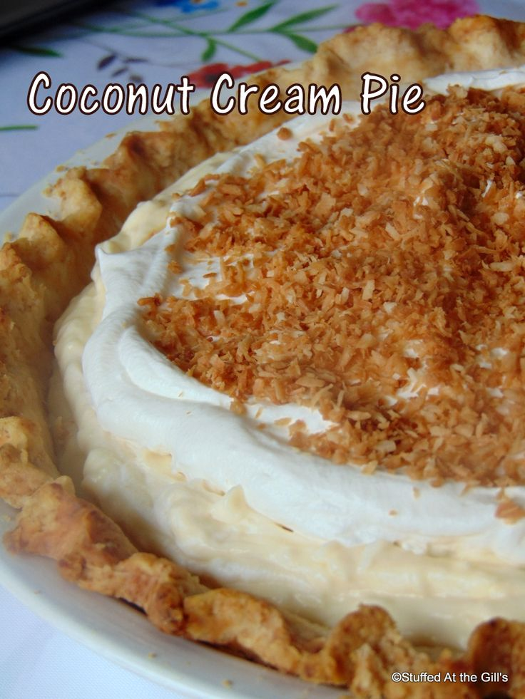 Luscious Coconut Cream Pie with a whipped cream topping.