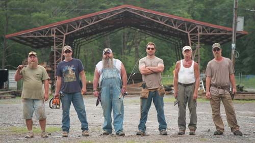 """Antique Cabins and Barns employees, from left to right, Tim Rose, Sherman Thompson, Brian Buckner, Mark Bowe, Johnny Jett and Graham Ferguson are also cast members for  DIY Network's new show titled """"Barnwood Builders."""""""
