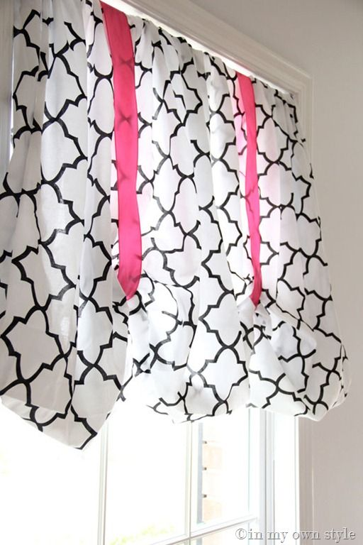 @Marlene Crookston Willis Fitted sheet no sew window treatment This would be perfect for our black and white bedroom that has pink and orange accents!