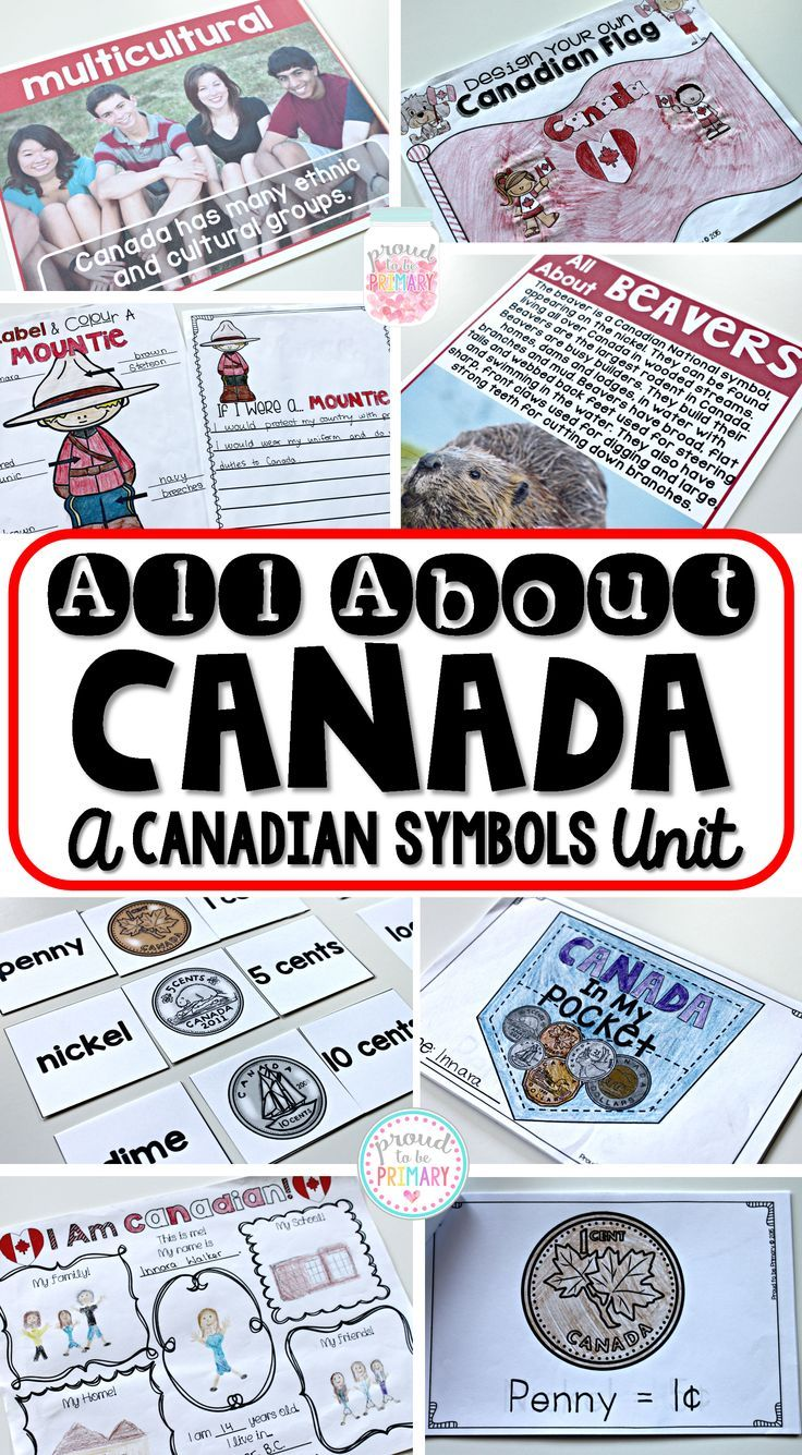 Proud to be Primary's All About Canada ~ Canadian Symbols social studies unit. 12 Canadian symbols included (beavers, maple leaves, the flag, mounties, maple syrup, inukshuks, and more)!