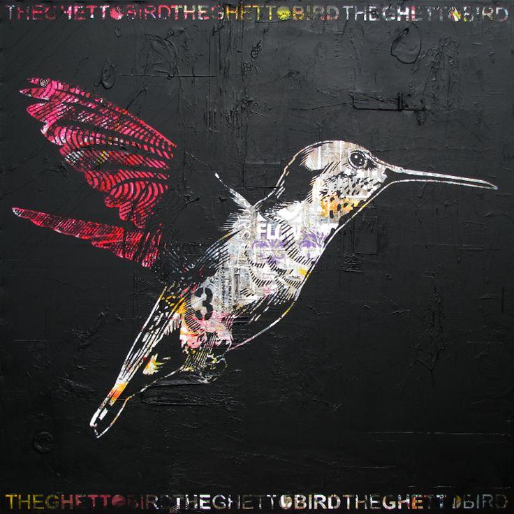 "THE GHETTO BIRD.Technique mixte sur toile. 122 x 122 cm / Mixed media on canvas. 48'' x 48"". Octobre 2014, october. Artiste-peintre: Tone. www.t-pakap.net"