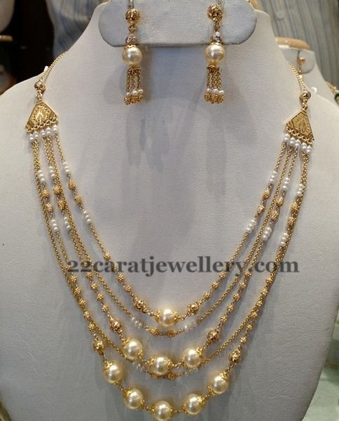 Jewellery Designs: 5 Rows Pearl Necklace 25 Grams