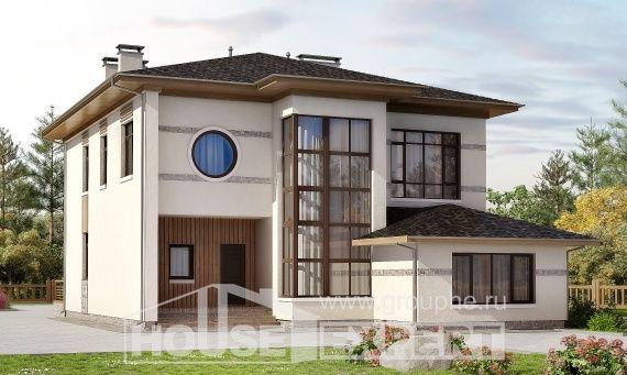 345-001-П Проект двухэтажного дома, классический загородный дом из пеноблока