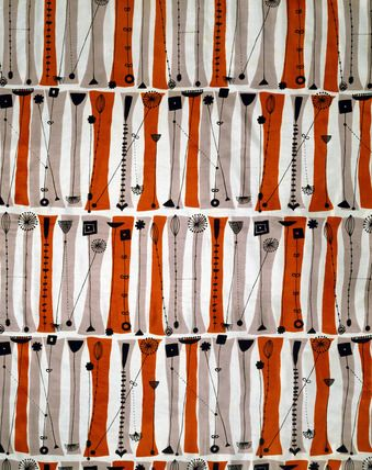 """Palisade furnishing fabric, by Lucienne Day (b.1917) for British Celanese & Sanderson Fabrics Ltd. Printed rayon taffeta. UK, 1953. """