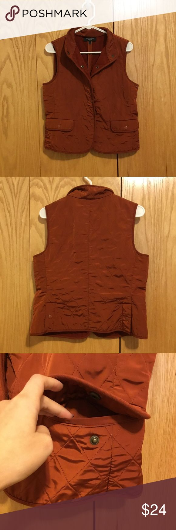 Talbots Quilted Orange Vest 236 Talbots Quilted Orange Vest. Features two functional pockets on the front. Fleece lined inside. Burnt orange. Size small Talbots Jackets & Coats Vests