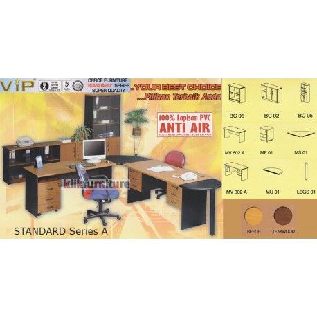 Set Office Standard Series A VIP Condition:  New product  Terdiri dari (masing-masing 1 set)  BC 06, BC 02, BC 05, MV 602 A, MF 01, MS 01, MV 302 A, MU 01, LEGS 01 100% lapisan PVC Anti air, bukan kertas foil biasa  tidak termasuk kursi kantor dan aksesoris lainnya yang digambar  bisa dicustom item terpisah