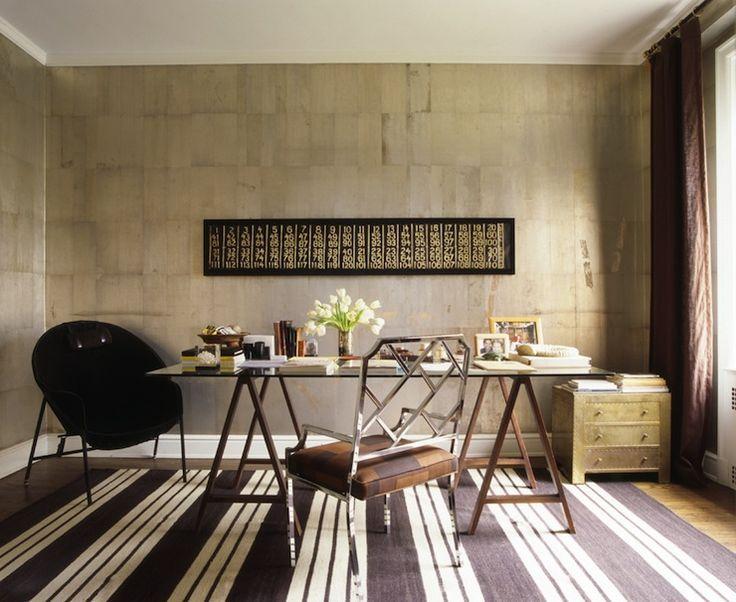 Nate Berkus Design: Brown White Striped Rug, Glass Top Sawhorse Table Desk,  Copper