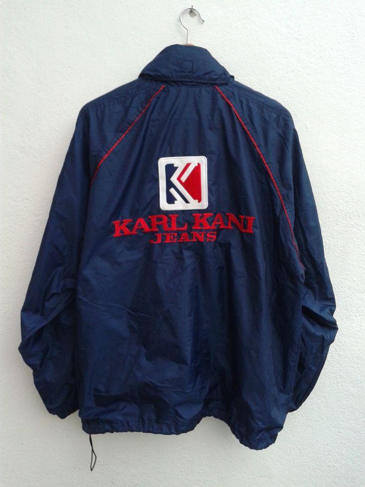 KARL KANI Jeans Embroidered Spell Out Giant Logo Vintage 90s Kani Windbreaker Jacket Coat Size M by BubaGumpBudu on Etsy