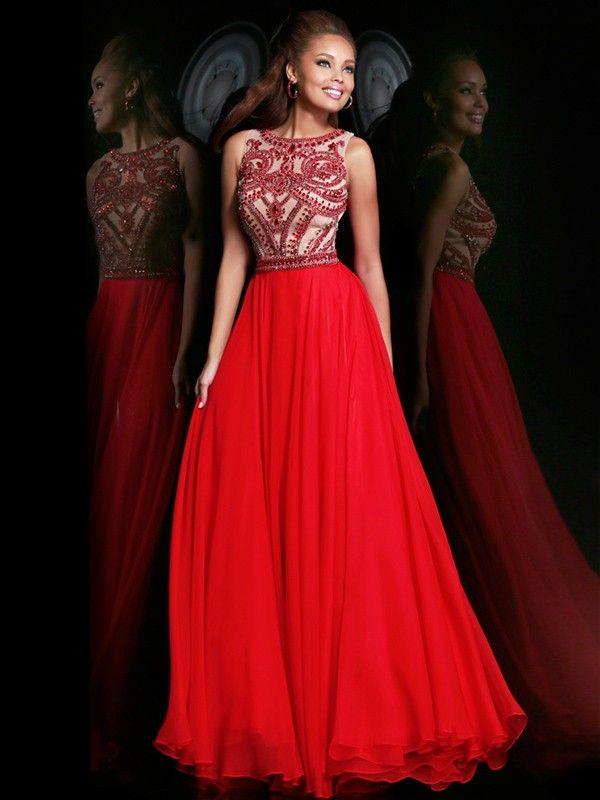 A-Line/Princess Scoop Sleeveless Beading Floor-length Chiffon Dress