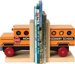 Maple Landmark Bus Book Ends, $59.95