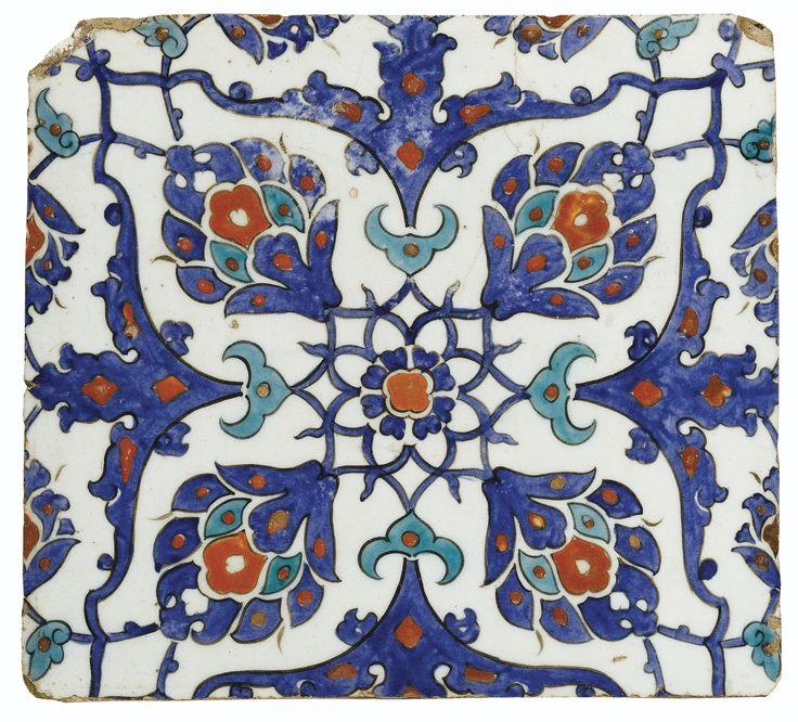 AN IZNIK POLYCHROME SQUARE TILE, TURKEY, CIRCA 1580