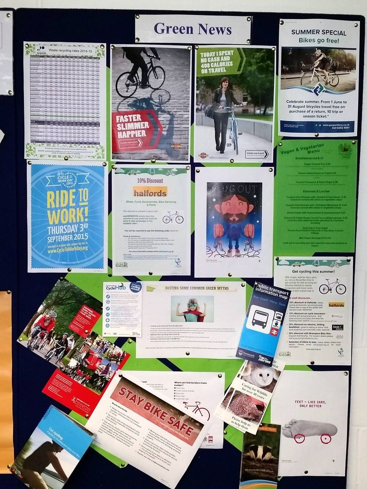 Our staff room noticeboard, packed with hints and tips for environmentally sustainable living. #GreenUniLibrary