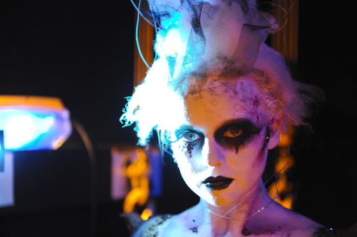 Close up Theatrical makeup. End of year show.