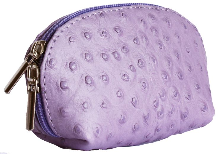 Lilac Ostrich Leather Coin Purse
