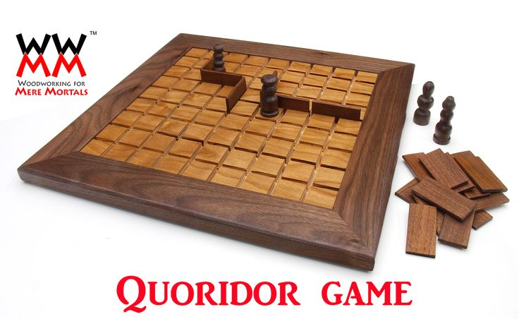 Make a Quoridor game - tabletop board game woodworking project and free plants. quoridor game board . http://woodworking.formeremortals.net/2014/12/05/make-quoridor-game/  Mini version using dowels and push pins for pawns. Plans are basic - easily altered - PDF or SketchUp files WWMM http://woodworking.formeremortals.net/2014/12/05/make-quoridor-game/ #DIYgame