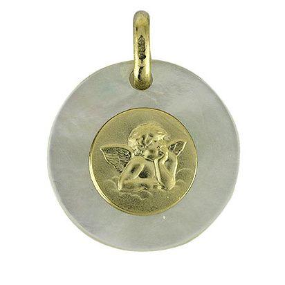Pendentif avec l'archange Raphael en or sur nacre sur le site Cristalange.com - Gold pendant with the Raphael archangel on cristalange.com website