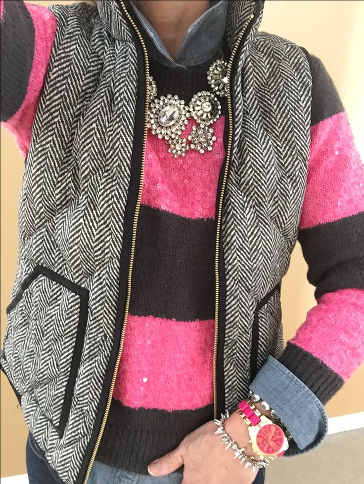 Fashion Over 40:  J Crew Sequin Stripe Sweater and Chambray Shirt, J Crew Factory Vest, J Crew Necklace, Charming Charlie Watch, Stella & Dot Bracelets