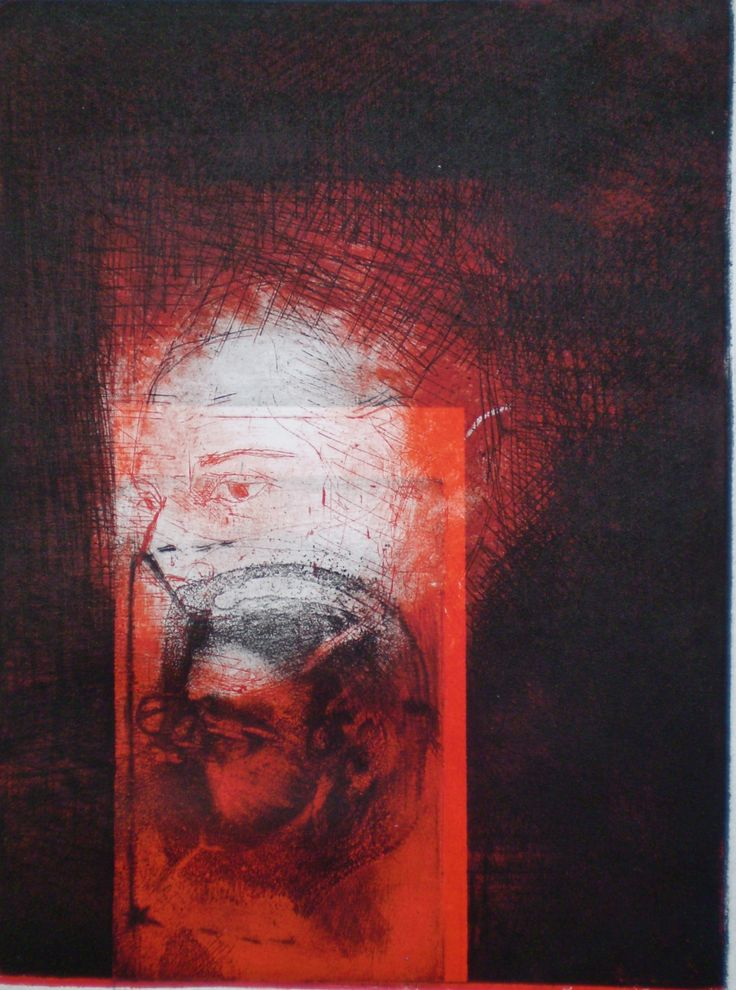 ELAINE d'ESTERRE - Red Column 1, 1/1, 2009, intaglio and drypoint 25x18 cm print, 35x25 cm paper by Elaine d'Esterre about pre-Minoan symbolism and female identity, viewed at http://elainedesterreart.com and http://www.facebook.com/elainedesterreart/ and http://instagram.com/desterreart/