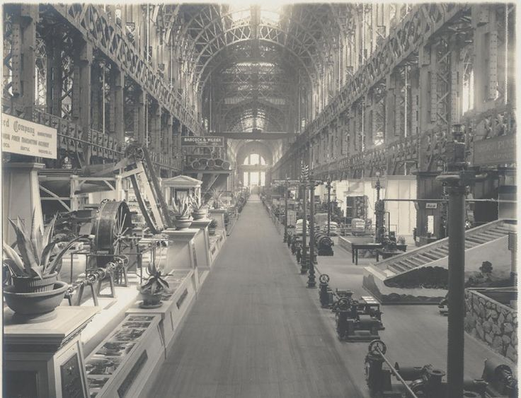 Interior of Palace of Machinery, via Bancroft Library, Charles C. Moore albums