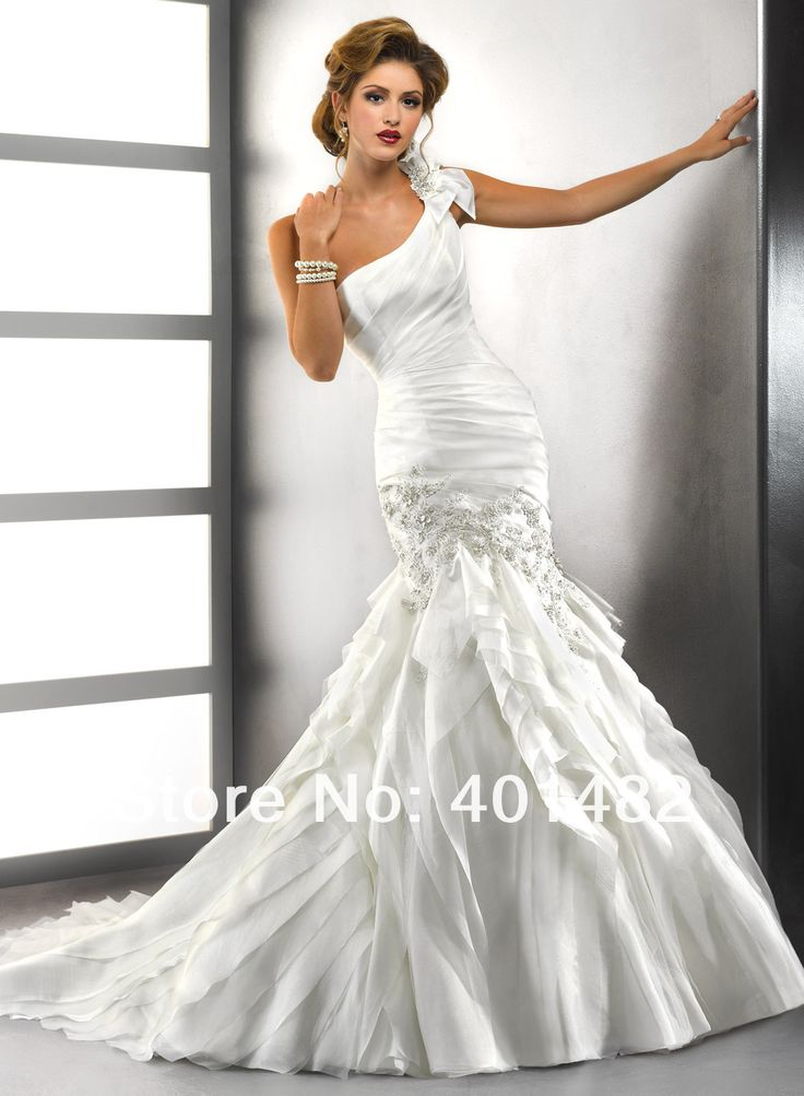 Free Shipping Romantic Design Mermaid Wedding Gown One Shoulder Lace Layered Organza Pleat Wedding Dresses
