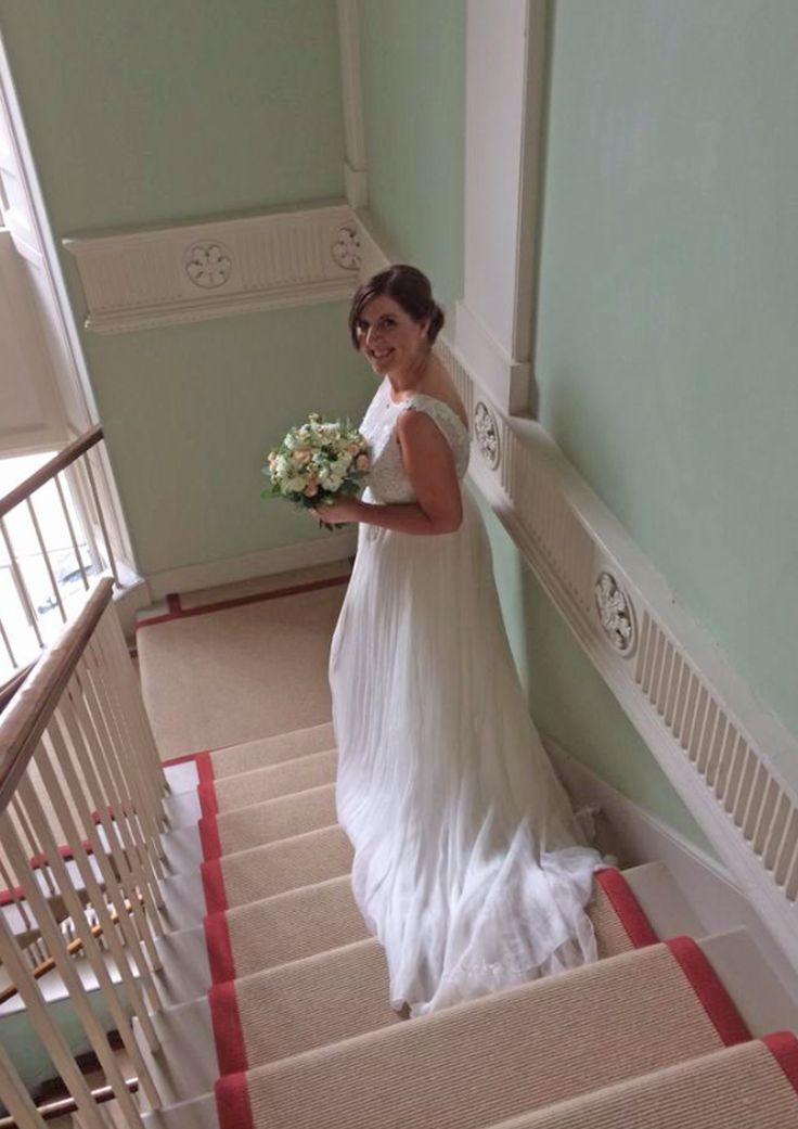 My beautiful sister on her way to be married at Inchyra Byre, Perth, Scotland