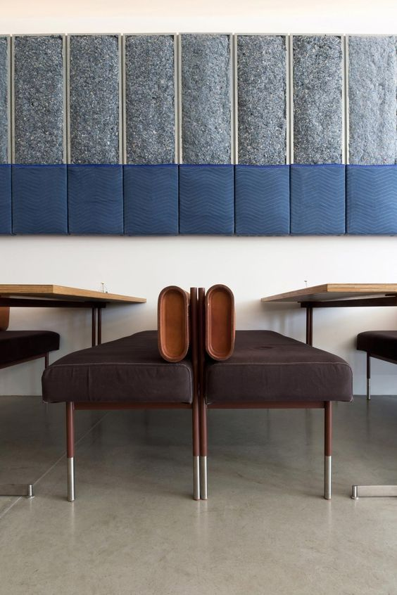 Lovin' Torafuku Modern Asian Eatery's blue, white and brown interior | blue textile wall fixture | simple wooden tables and retro inspired bench
