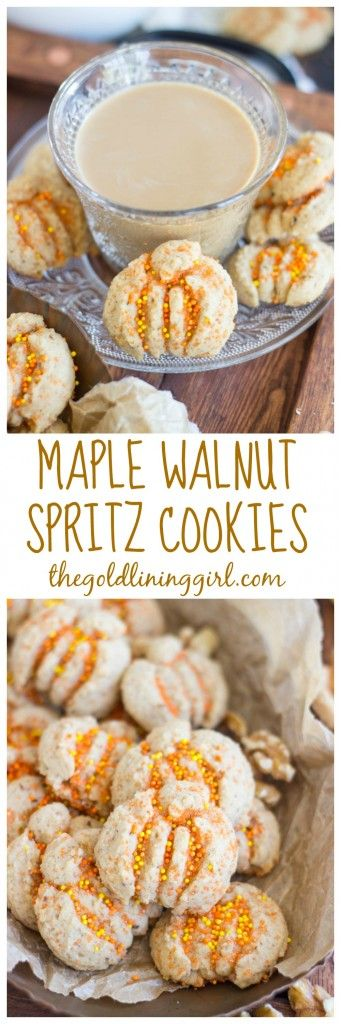 Delicate, buttery spritz cookies, flavored with pure maple syrup and ground walnuts. Spritz aren't just for Christmas!