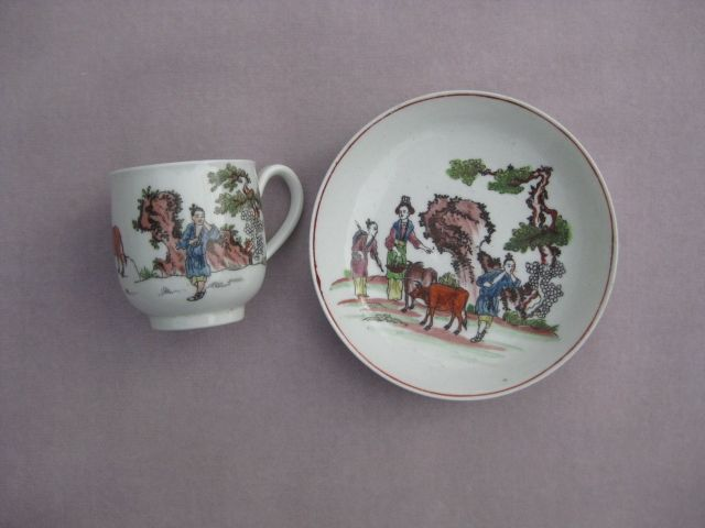 "A fine Worcester cup and saucer  printed and painted with the ""Red Bull ' pattern  C 1762"