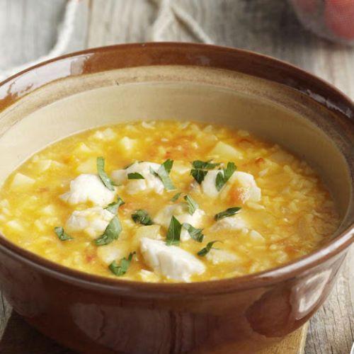 Κοτόσουπα αβγολέμονο με σαφράν