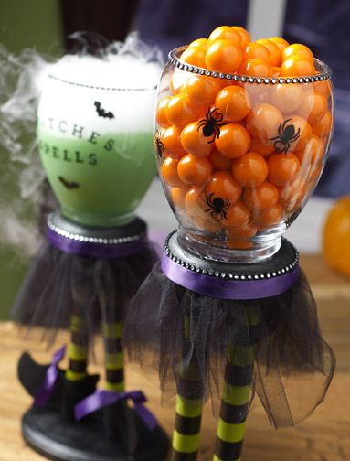 Cute Witches Candle Cauldrons - great candy bowl.