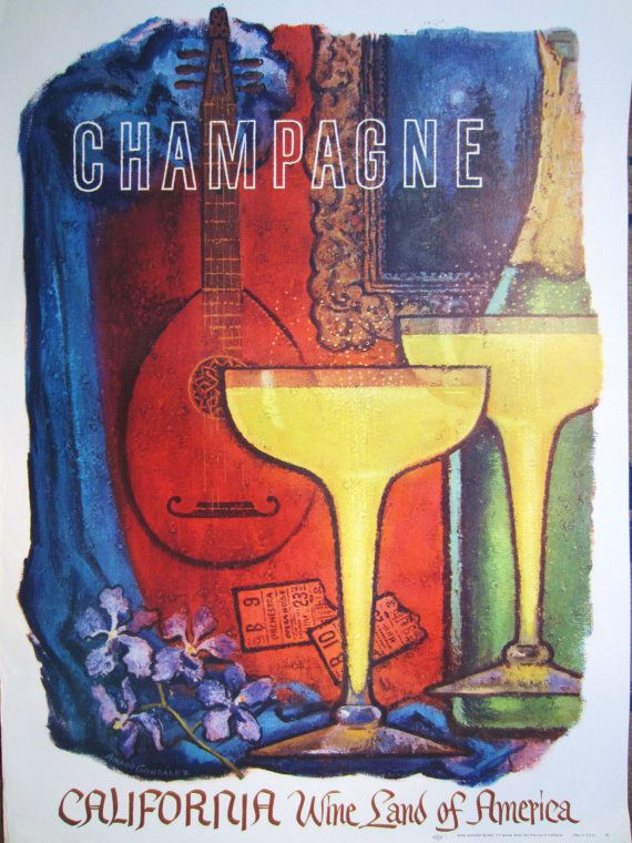 Vintage WINE POSTERS CALIFORNIA Champagne Amando by nevertoold