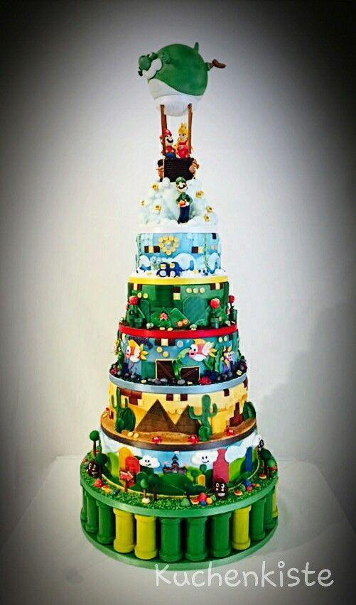 #caketower #supermario #supermariocake #madeforcontest #weddingcake #airbrush #fondant #sugarpaste #figurine #cake #supermario #wedding