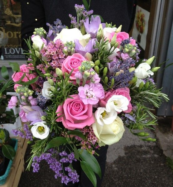 Stunning Brides Bouquet In Pink And Lilacs With Cream Accents Gorgeous Whatever The Season