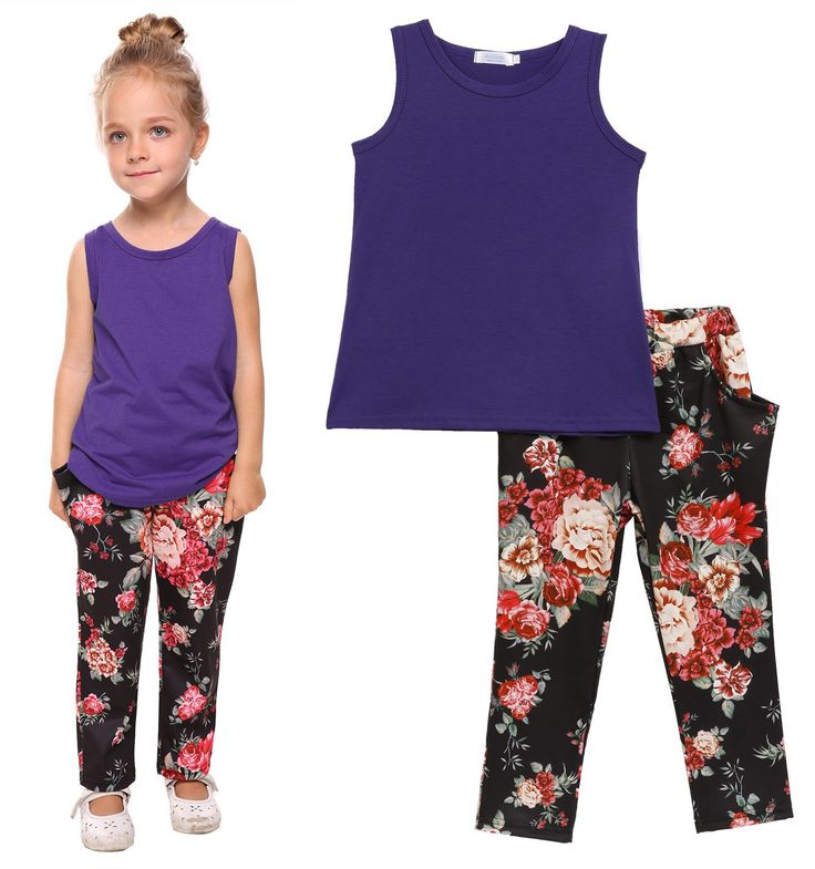 Arshiner Toddler Baby Kids Girls Summer 2PCS Sets Outfits Sleeveless Shirt/Tops and Floral Pants with Pockets, Purple, 80(Age for 1-2Years). Breathable material,Soft and Comfortable. Solid color top and Personalized Flowers Printing. Fashion Casual Style with two nice useful pockets. Separate machine/hand washing with cold water. Size Table means age ranges for girls, They are for general guidance only. For most accurate fit, Please read detail size measurement in Product Description…
