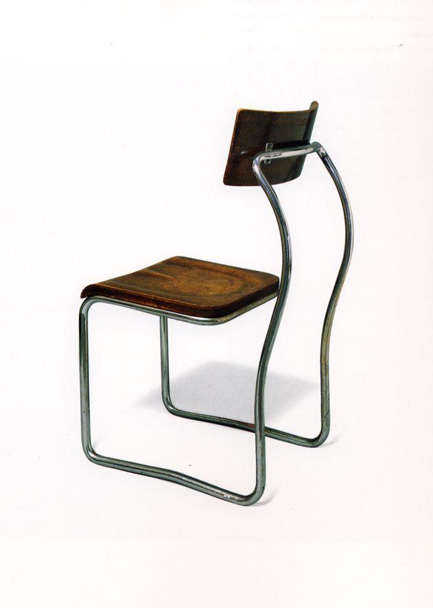 Giuseppe Terragni; Chromed Tubular Metal and Wood Chair for Casa del Fascio, c1935.