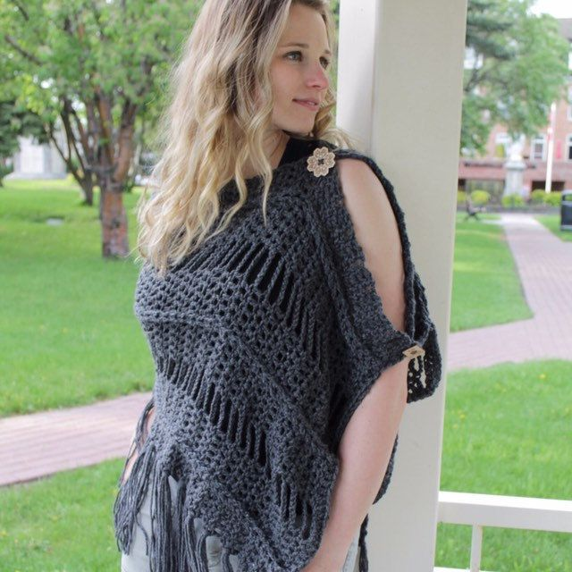 The weather (barely) cooperated and we got some pictures done yesterday. We're Lovin this shot! Our Maddie poncho is available in dark grey, light grey, ivory, white and black.