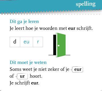 Vandaag heb je geleerd hoe je woorden met -eu- schrijft. Het voorbeeldwoord op deze spellingkaart is deur.    Oefen woorden met -eu- op de c...